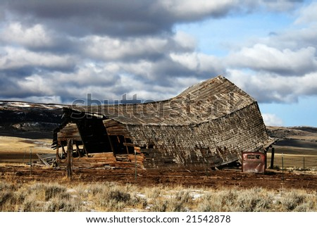 Collapsed Barn with part of an old truck
