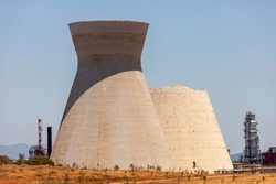 Collapsed Cooling tower, one of two Iconic Cooling towers of Haifa oil refinery.