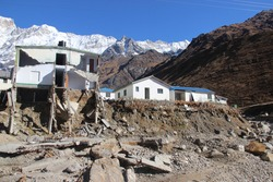 Collapsed houses during Kedarnath Disaster 2013 in Uttarakhand, India. Results in heavy loss to lives & property.