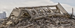 Collapsed industrial building panorama