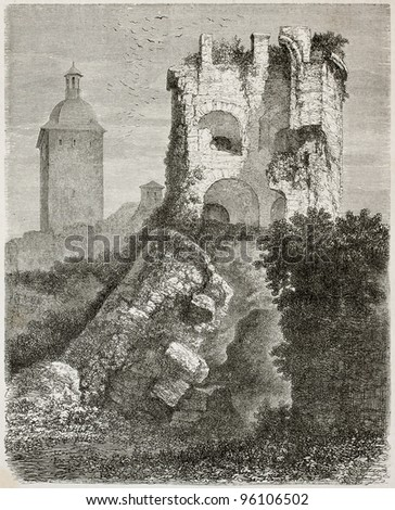 Collapsed tower in Heidelber castle, old view, Germany. Created by Stroobant, published on Le Tour Du Monde, Paris, 1867