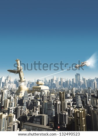 Collapsing tower in a science fiction city being attacked from above, 3d digitally rendered illustration
