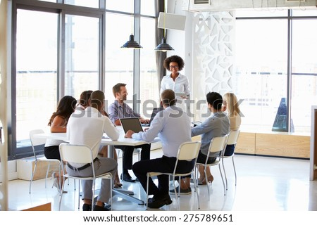 Colleagues at an office meeting