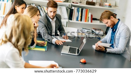 Colleagues brainstorming in office #773036629