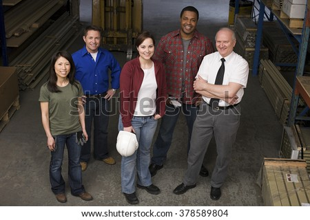 Colleagues in warehouse