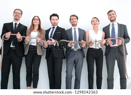 colleagues with wrists tied with a rope