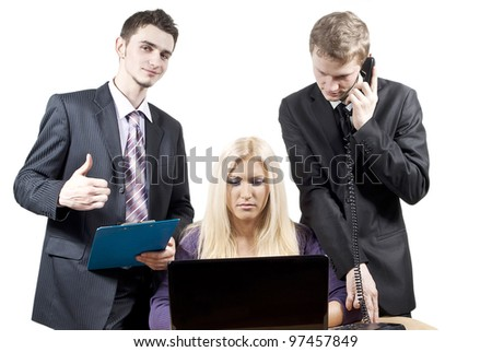 colleagues work together on a gray background