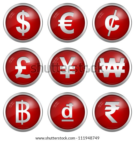 Collect Of Circle Glossy Red Icon With Silver Border Plate For Currency Symbols Isolated on White Background