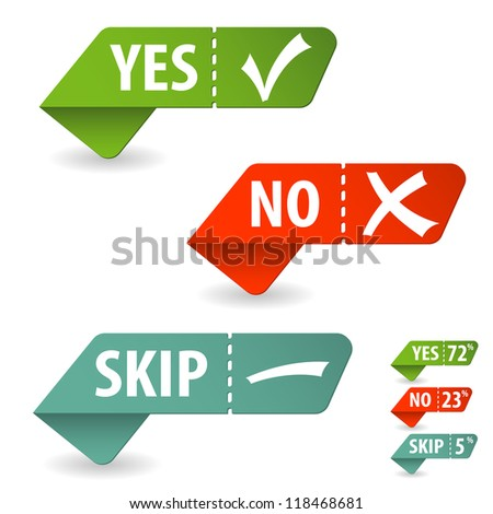 Collect Sticker with Yes, No and Skip Check Mark, isolated on white, illustration