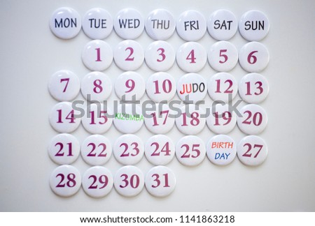 Collected calendar of round magnets. Monthly Planning #1141863218