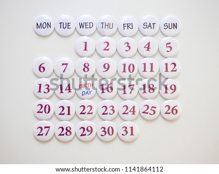 Collected calendar of round magnets. Monthly Planning #1141864112