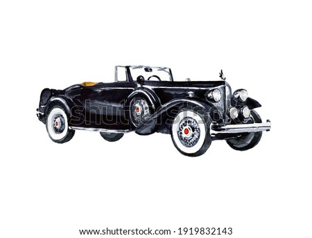 Collectible rarity retro car of black solid color on a white background. Watercolor poster.  Сток-фото ©