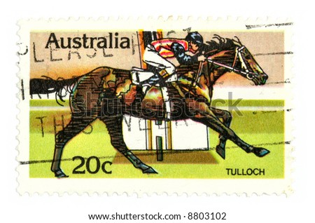 Collectible stamp from Australia depicting horse racing derby.