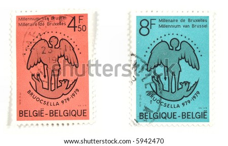 Collectible stamps from Belgium. Set with anniversary of Brussel.