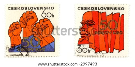 Collectible stamps from Czechoslovakia. Set with communism concepts.