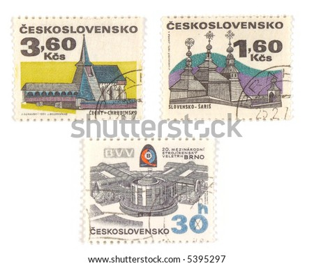 Collectible stamps from Czechoslovakia. Set with old churches and modern BVV center in Brno.