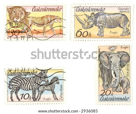 Collectible stamps from Czechoslovakia. Set with wild African animals.