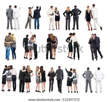 "collection "" Back view of  business team "". young couple rear view. Rear view people set.   backside view of person.  Isolated over white background."