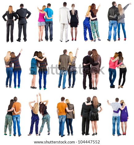 "collection  "" Back view of  couple "". team set. Rear view people collection. backside view of person. Isolated over white background"