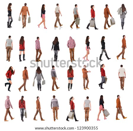 "collection "" back view of walking people "". going people in motion set.  backside view of person.  Rear view people collection. Isolated over white background."