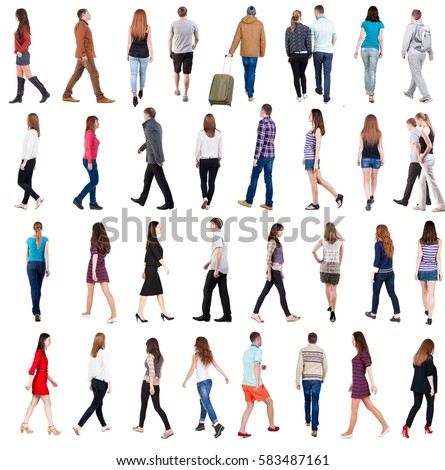 """collection """" back view of walking people """". going people in motion set.  backside view of person.  Rear view people collection. Isolated over white background. #583487161"""