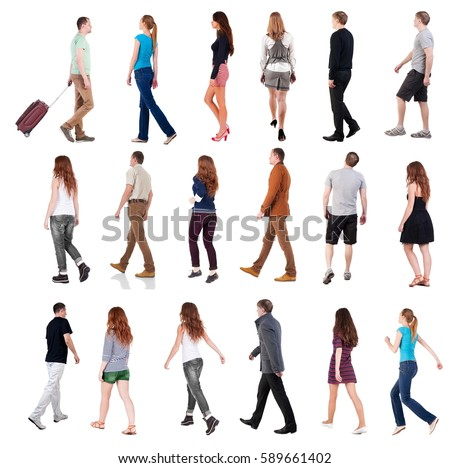 "collection "" back view of walking people "". going people in motion set.  backside view of person.  Rear view people collection. Isolated over white background. #589661402"