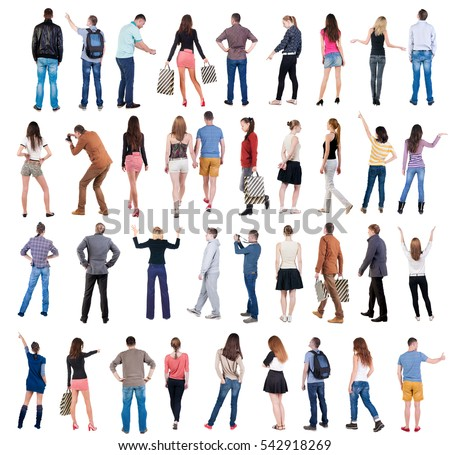 Collection Back view people . Rear view people set. backside view of person. Isolated over white background . #542918269