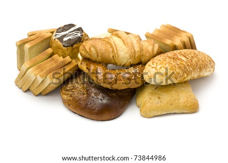 collection bread isolated on a white background