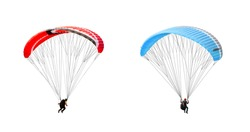 collection Bright colorful parachute on white background, isolated. Concept of extreme sport, taking adventure challenge.