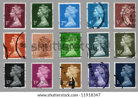 collection british postage stamps with great britain queen portrait