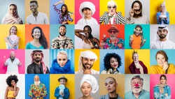 Collection bundle of different people  and ethnicities. Collage with men and women faces and various characters on colored backgrounds. Conceptual image about lifestyle and mankind