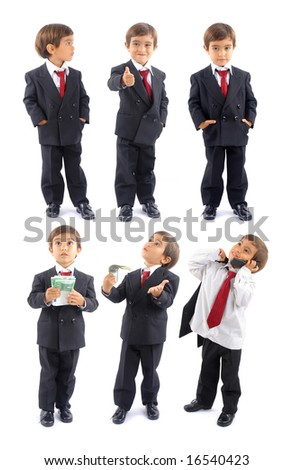 Collection Business boy Series on white background .