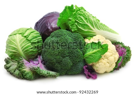 collection cabbages isolated on a white background