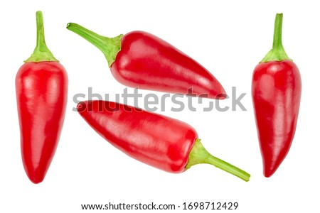 Collection chili pepper. Red chili pepper with clipping path isolated on a white background. Fresh organic chili pepper. Full depth of field