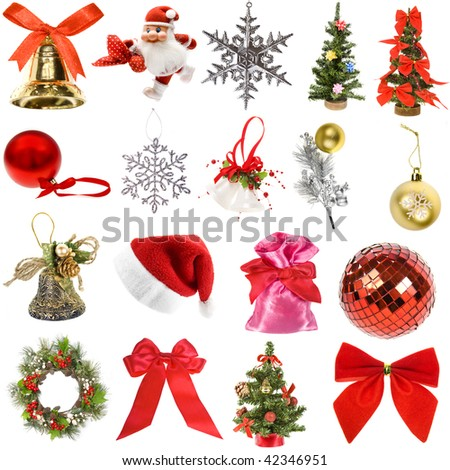 Collection Christmas decoration  isolated on white background