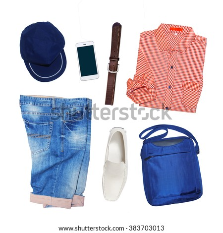 collection collage of men\'s clothing isolated white background