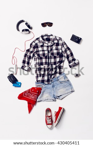 Shutterstock collection collage of women's clothing and accessories. Overhead of essentials young woman. Outfit of casual and teenage girl, red shoes.