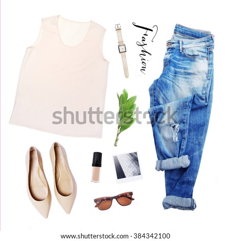 collection collage of women's clothing isolated white background