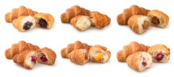 collection croissants on a white background