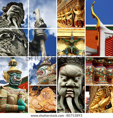 Collection Demon Guardian Wat Phra Kaew Grand Palace Bangkok at thailand. background template for design work