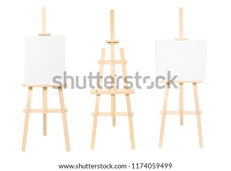 Collection easel empty for drawing isolated on white background. Vertical and horizontal paper sheets. Object, set. Wooden, mock up. Education, school, artist. Creative concept and idea of art