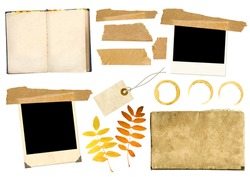 Collection elements for scrap booking. Objects isolated over white