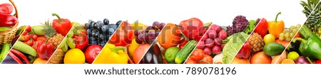 Collection fresh fruits and vegetables isolated on white background. Panoramic collage. Wide photo with free space for text. - Shutterstock ID 789078196