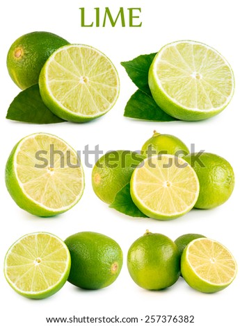 Collection Fresh lime and slice, Isolated on white background #257376382