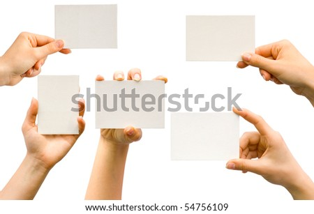Collection from five hands with cards on white background