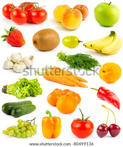 Collection from fruits and vegetables on white