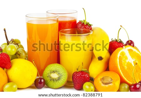 Shutterstock Collection from many fruits and juices in glasses on white