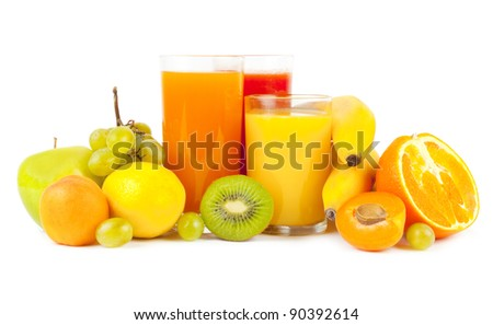 Collection from many fruits and jusices in glasses on white