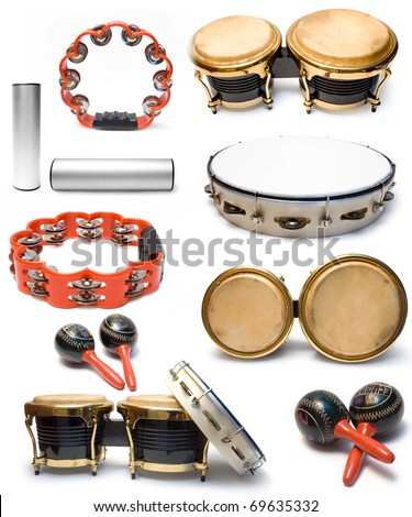 stock photo : Collection from percussion musical instruments on white