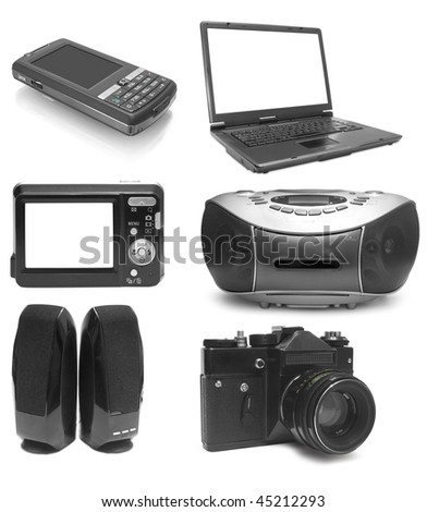 Collection from six objects electronics on white background #45212293
